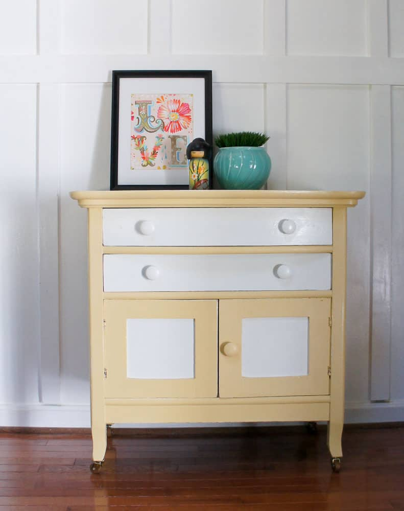 washstand painted yellow and white