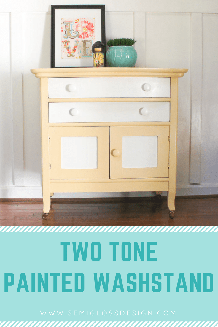 painted washstand makeover with two-tone finish