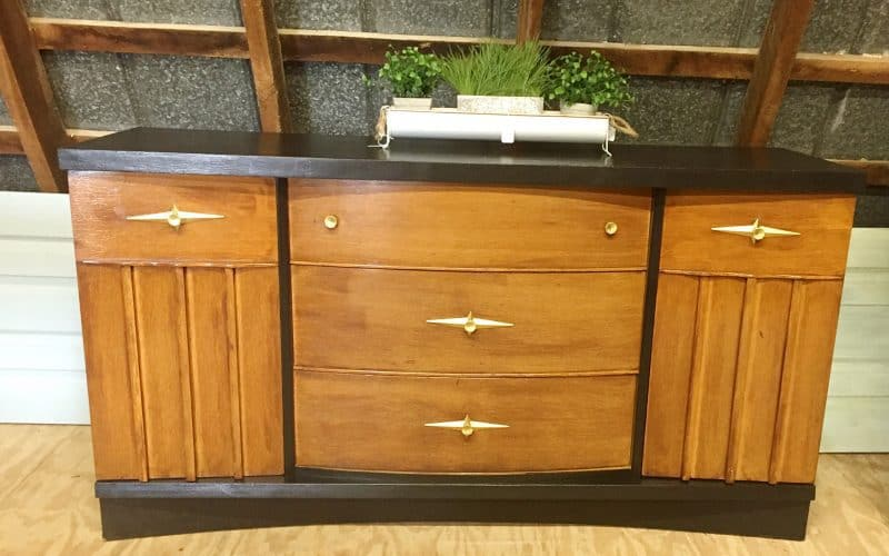 Two-tone MCM Painted Hutch and Buffet Makeover