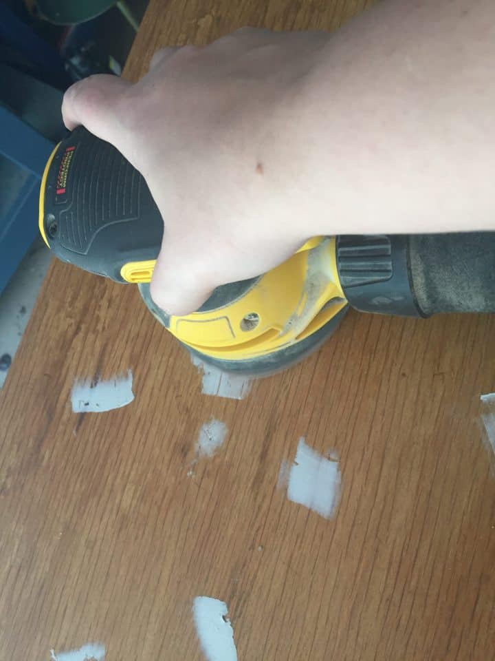 bondo repair while being sanded