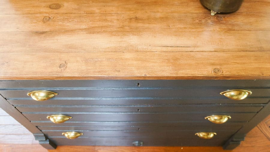 Dresser top with A Makers' Studio gel stain in English Walnut