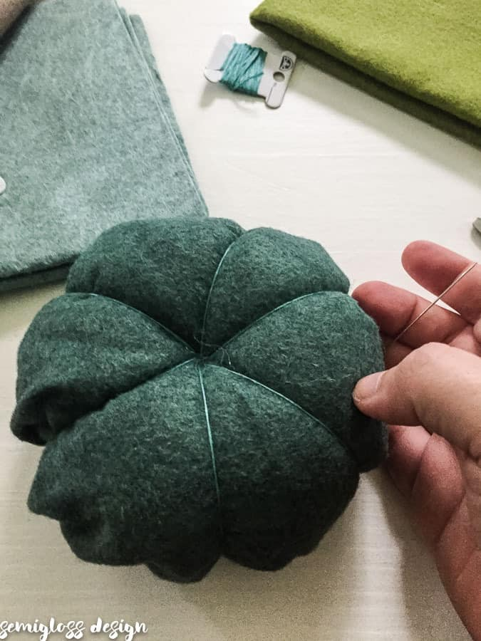 detail on felt pumpkin