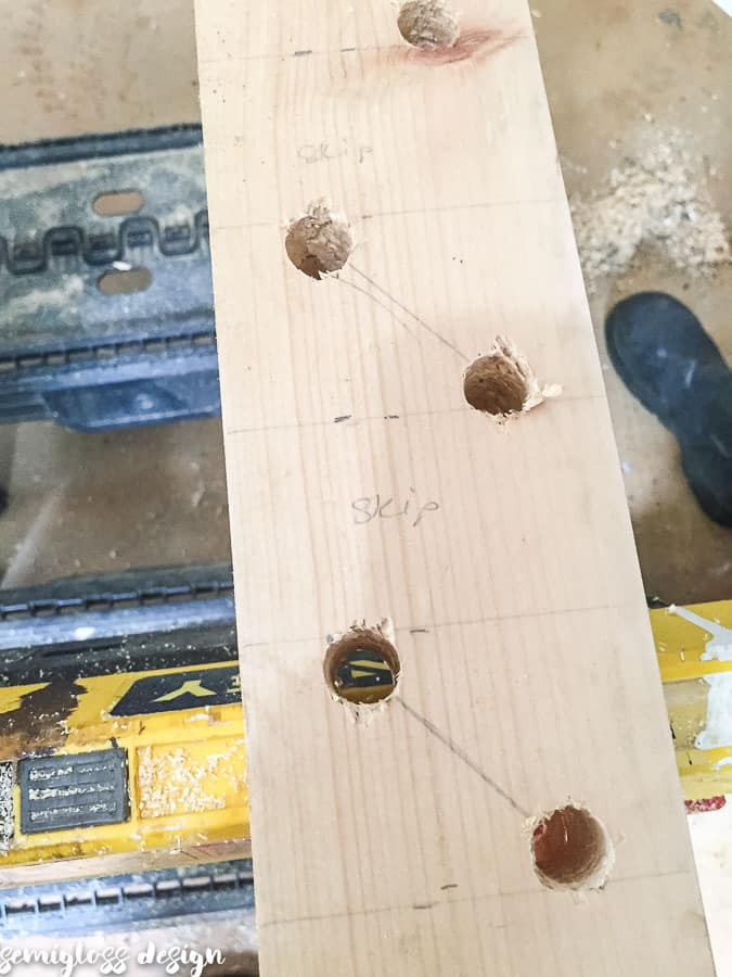 drill holes for supports