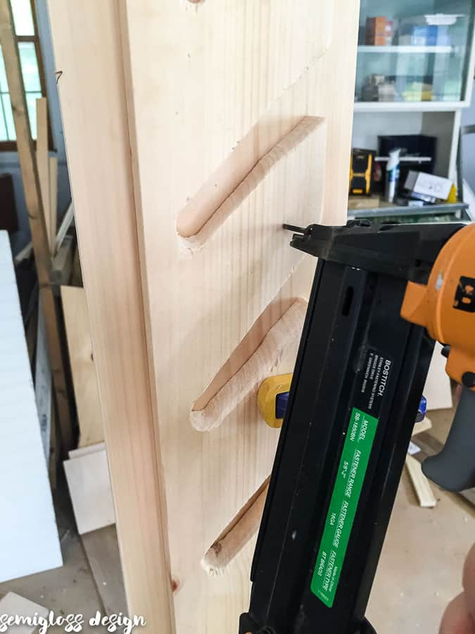 attach slotted boards with nail gun.