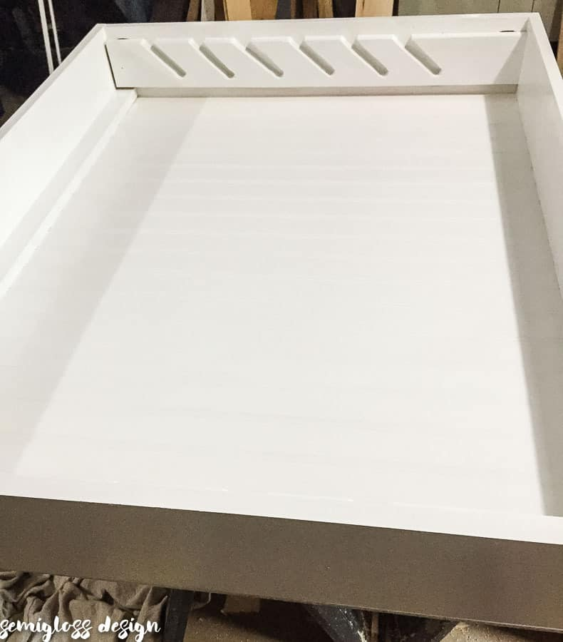 gift wrap organizer painted white