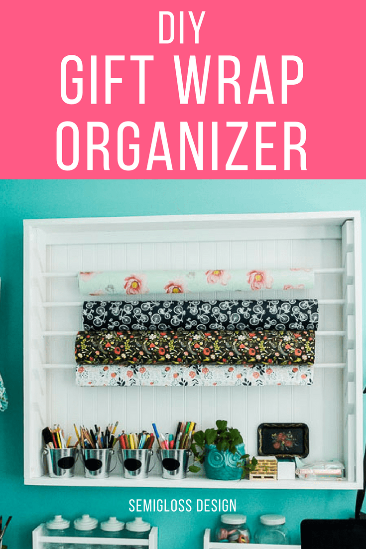 Learn how to make a hanging gift wrap organizer.