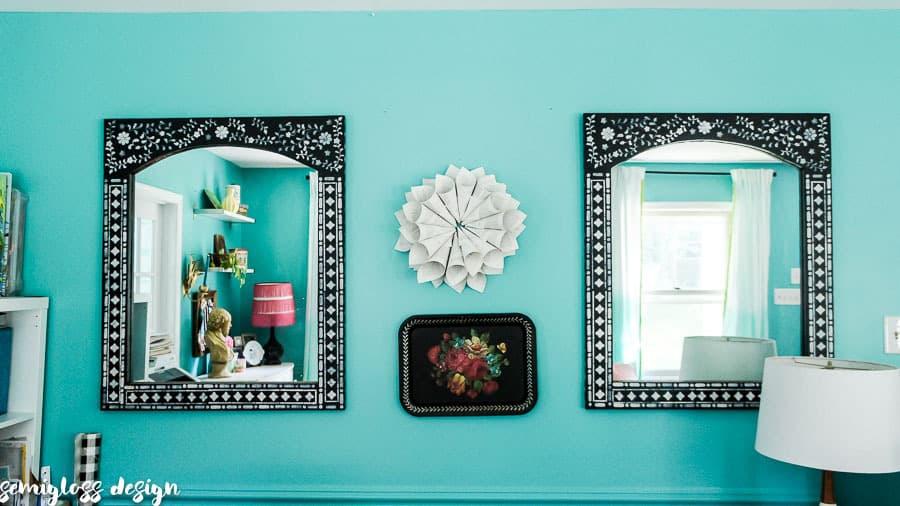 boho stenciled mirrors