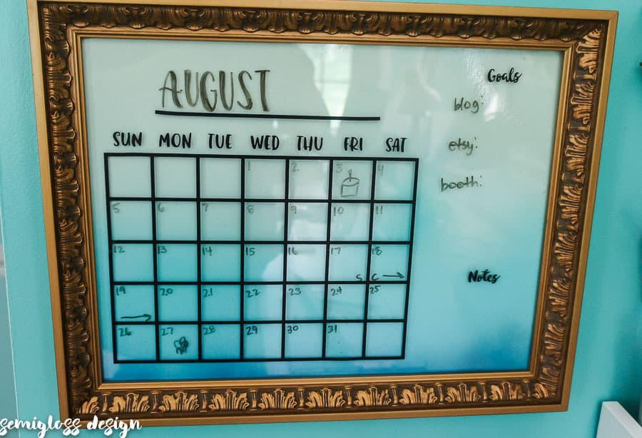 dry erase calendar in gold frame