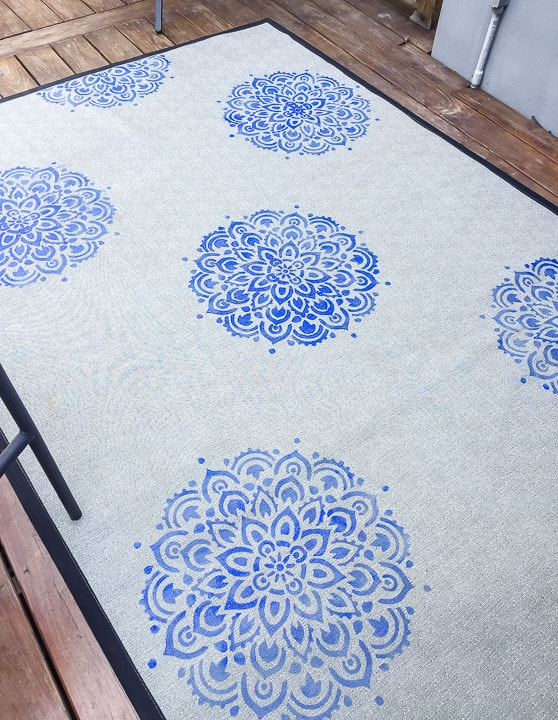 stenciled rug drying