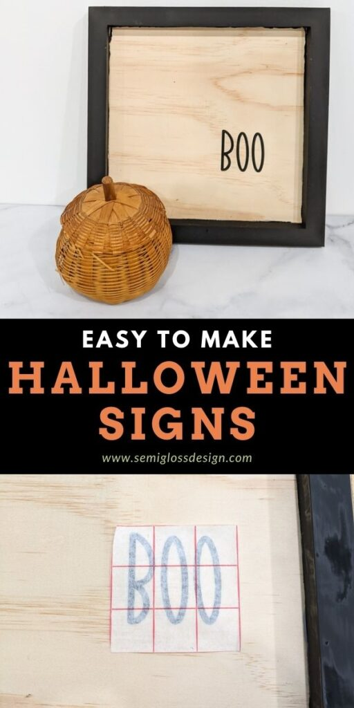 pin image - Halloween sign with vinyl collage
