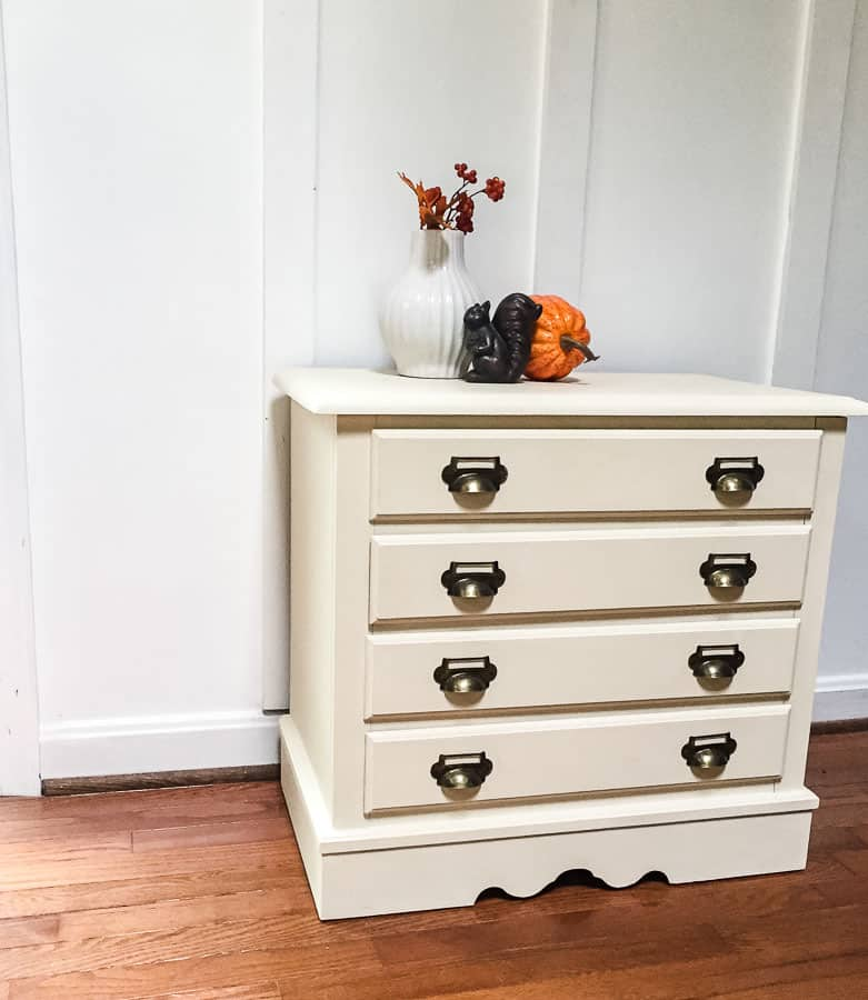 creamy white card catalog chest of drawer makeover