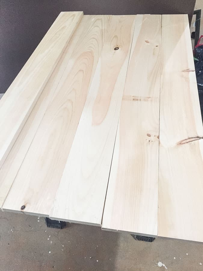 lay out wood to determine the top