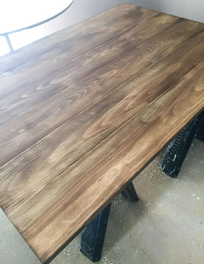 stained top for kitchen table