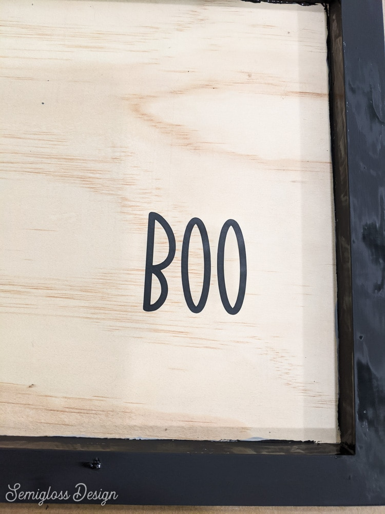 vinyl lettering on wooden sign