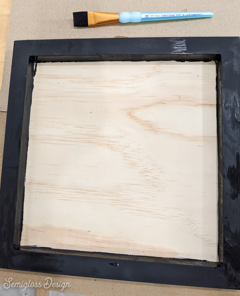 painting wooden panel frame for DIY Halloween sign