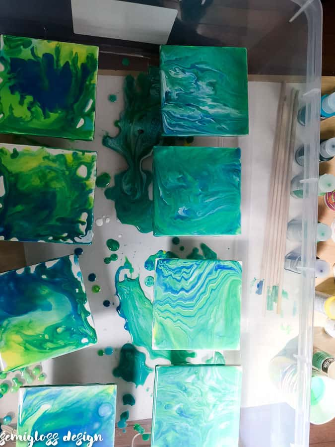 paint pour coasters, drying