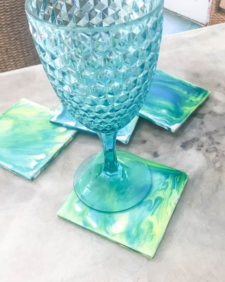 glass on paint pour coasters