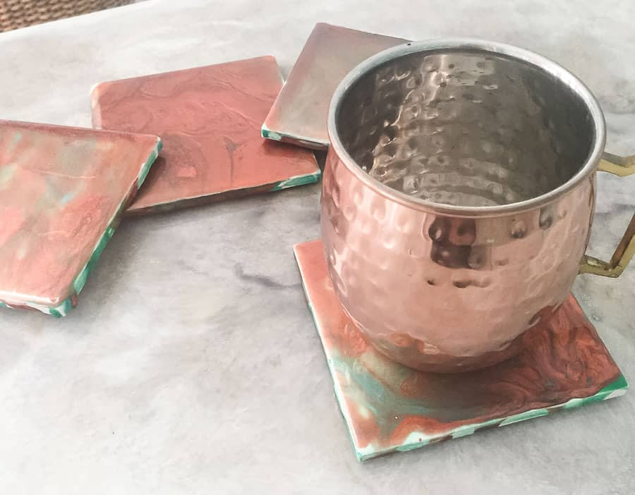 copper paint pour coasters