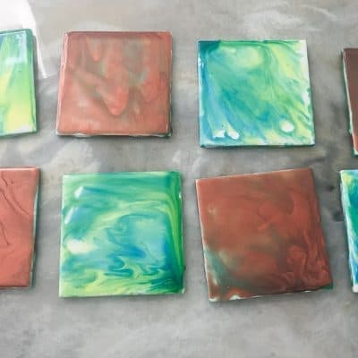Experiment with Paint Pouring to Make Coasters