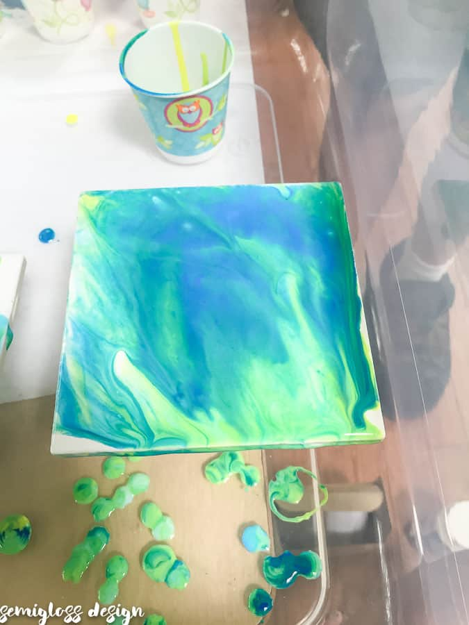 coaster after paint pouring