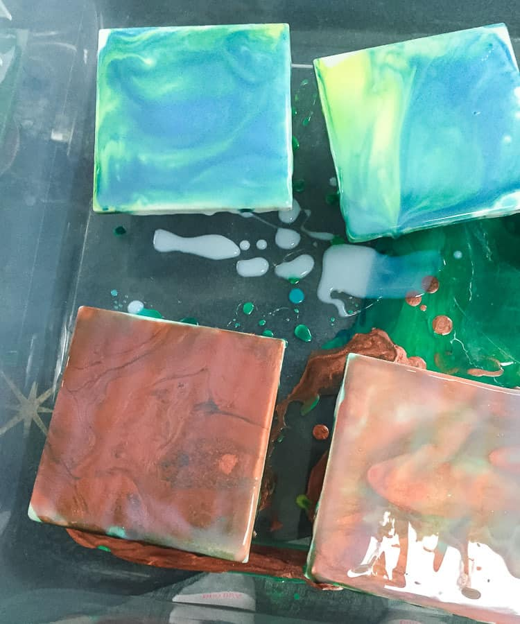 paint pour coasters with top coat, drying