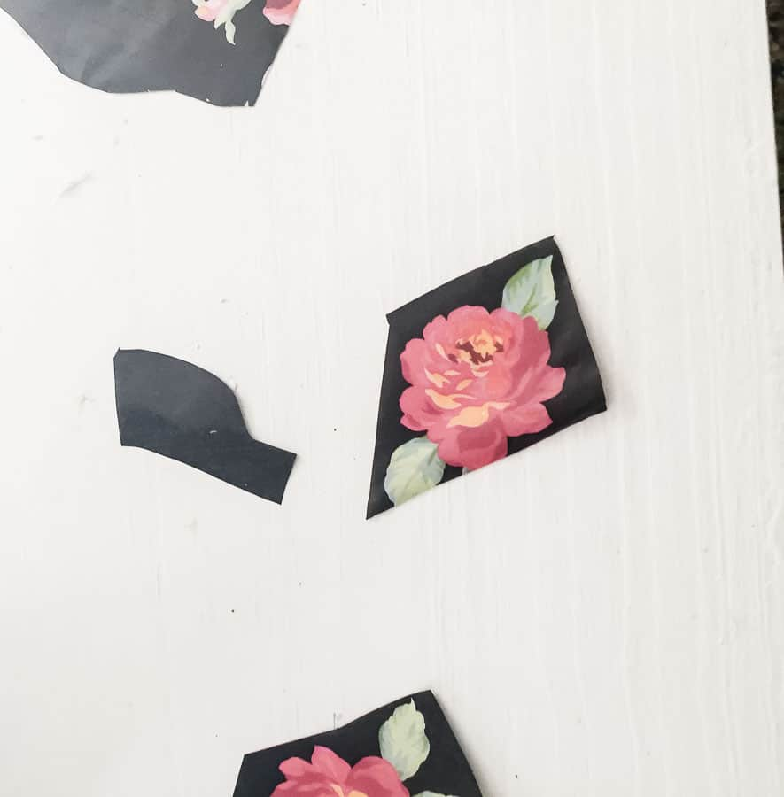 Use tiny bit of floral paper or black paper to fill last small parts