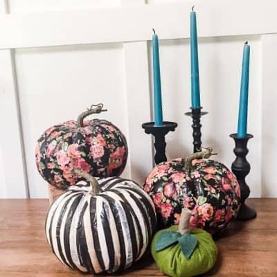 Tissue Paper Decoupage Pumpkins: Easy No Carve Pumpkin Decorating