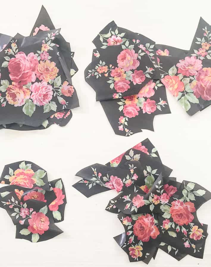 Cut floral tissue paper into sections