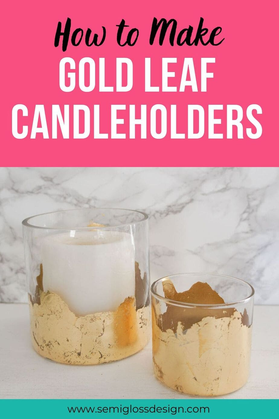 DIY gold leaf candleholders