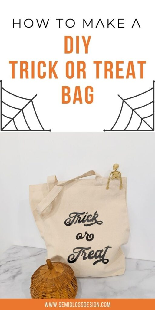 pin image - trick or treat bag with pumpkin