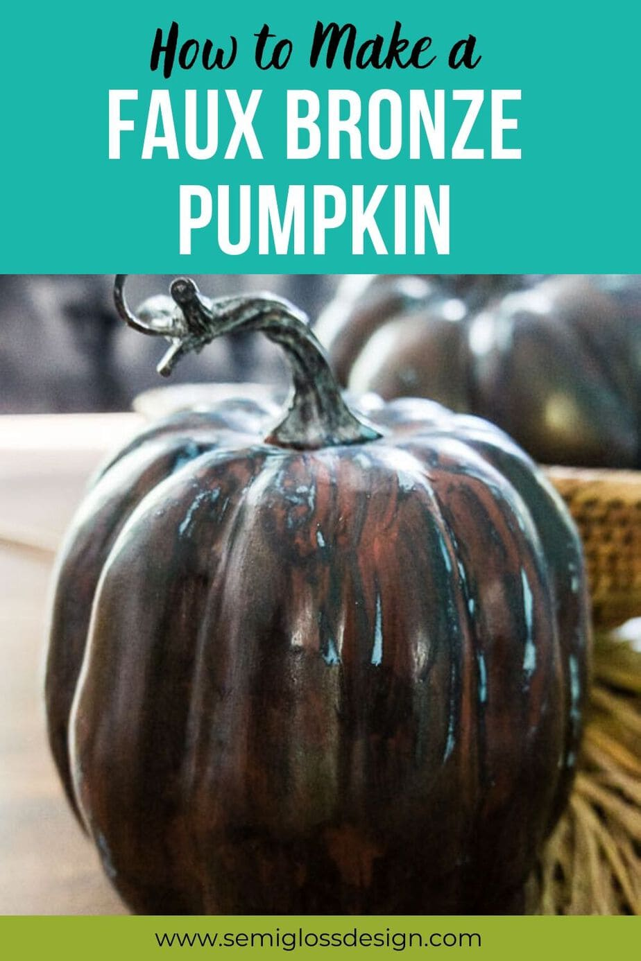 faux bronze pumpkin DIY