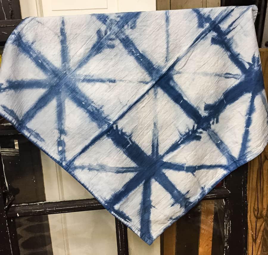 shibori dyed tea towel