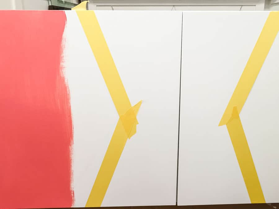 painters tape masking off design on besta cabinet