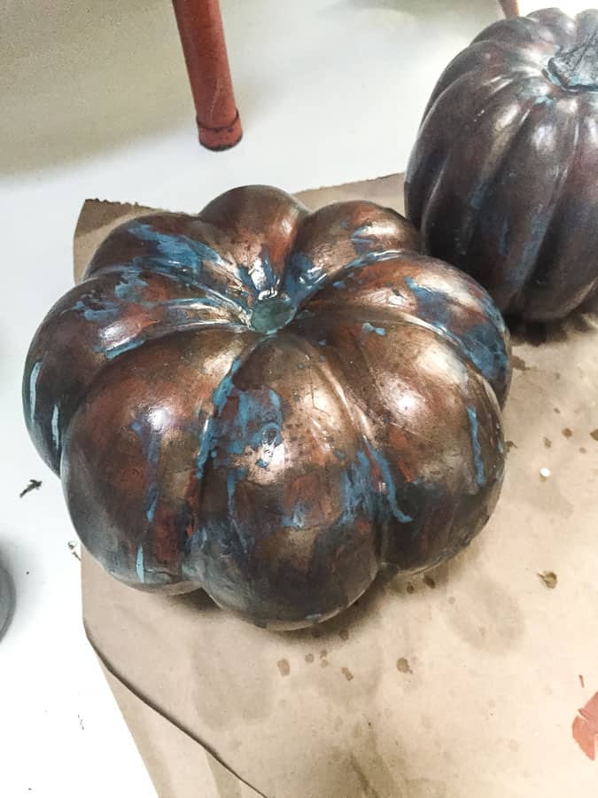 pumpkins with patina spray
