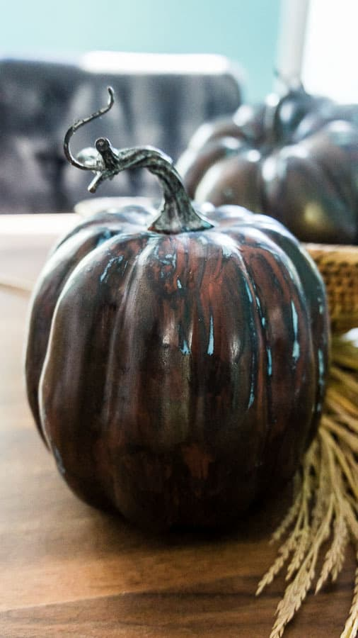 close up of painted metallic pumpkin patina