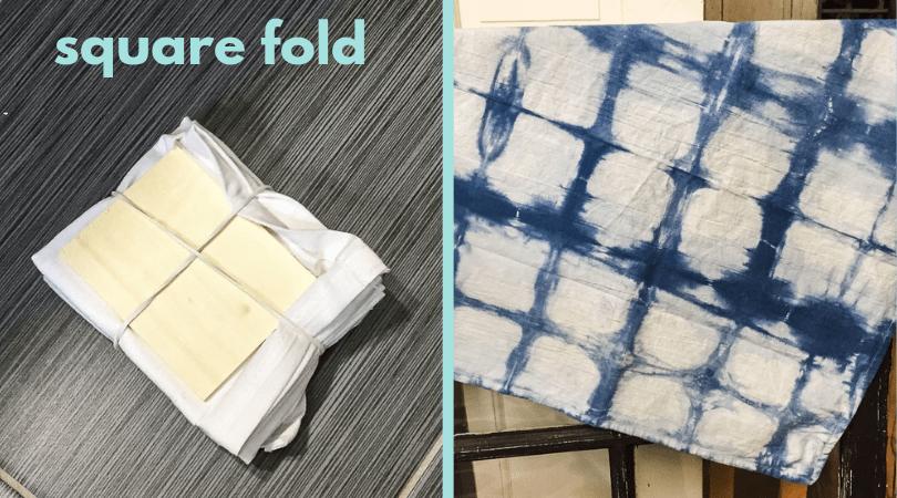 square fold for shibori dye