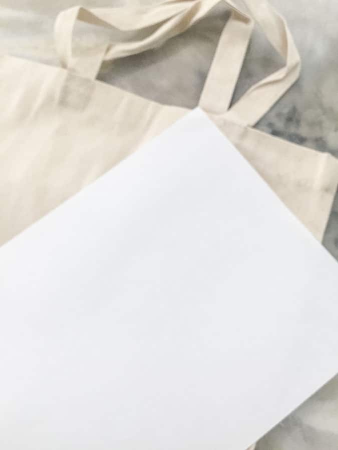 place paper inside tote bag to protect from bleed through