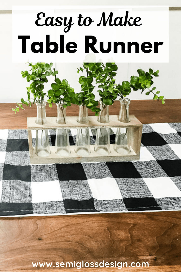 pin image - table runner with vase of greener on table with text overlay: easy to make table runner