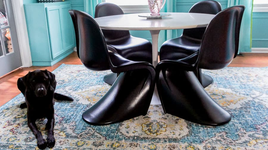 modern dining table and cute black lab