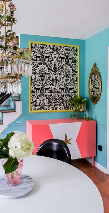 wallpaper panel in dining room