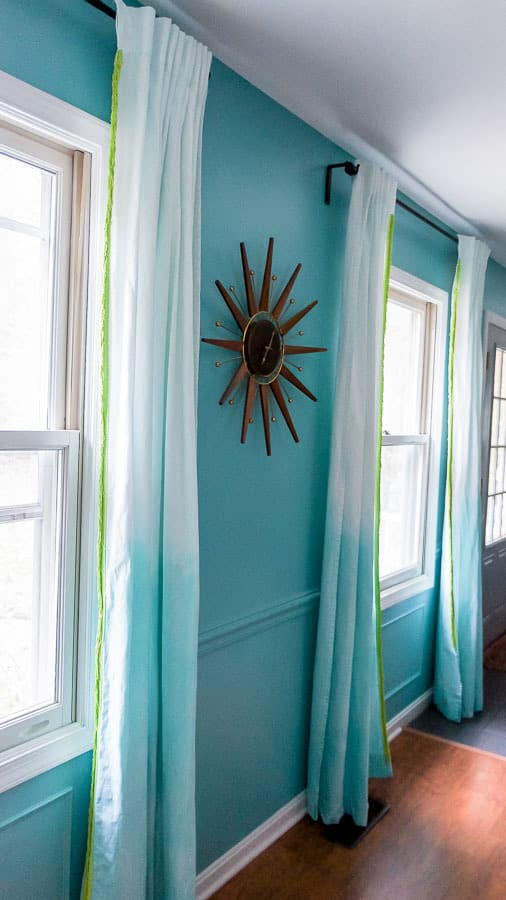 dip dyed curtains against teal walls