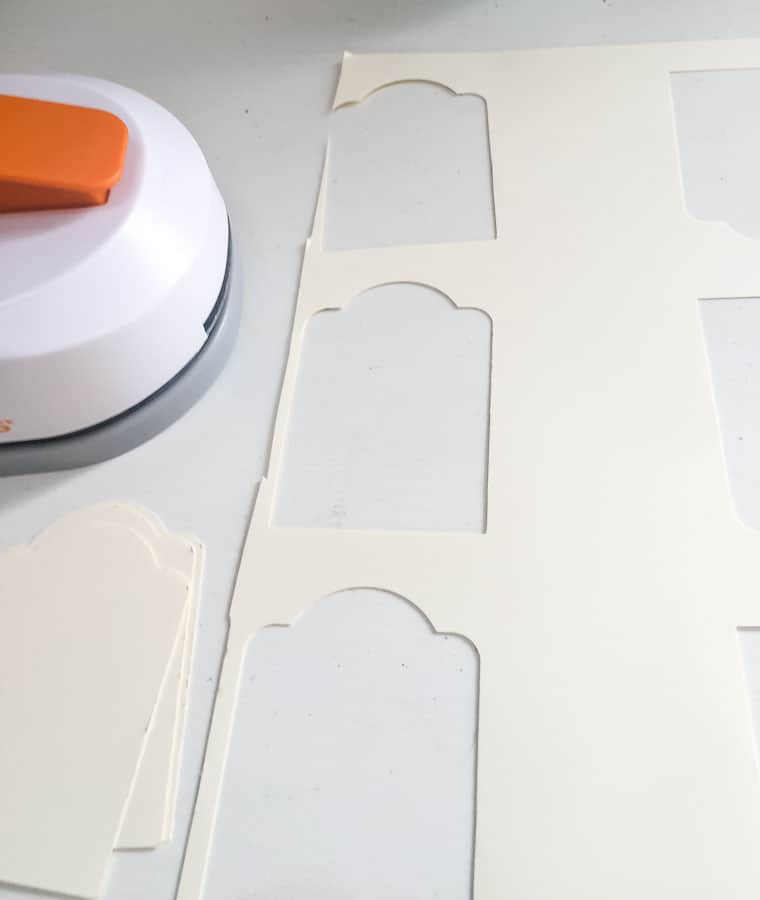Cut leftover tag part away to get to center of paper