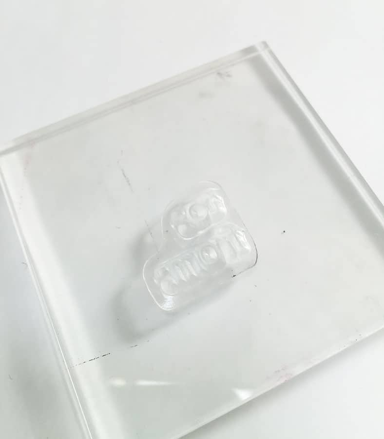 stamp on clear stamp block