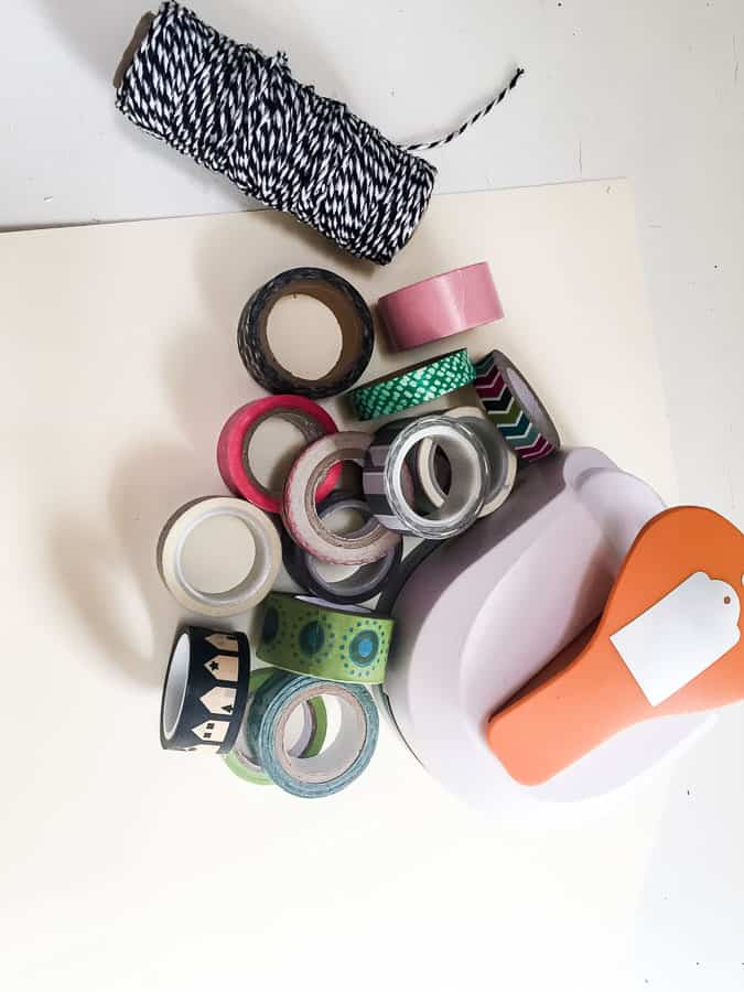tag hole punch and washi tape