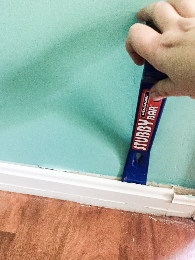 Use pry bar to remove molding