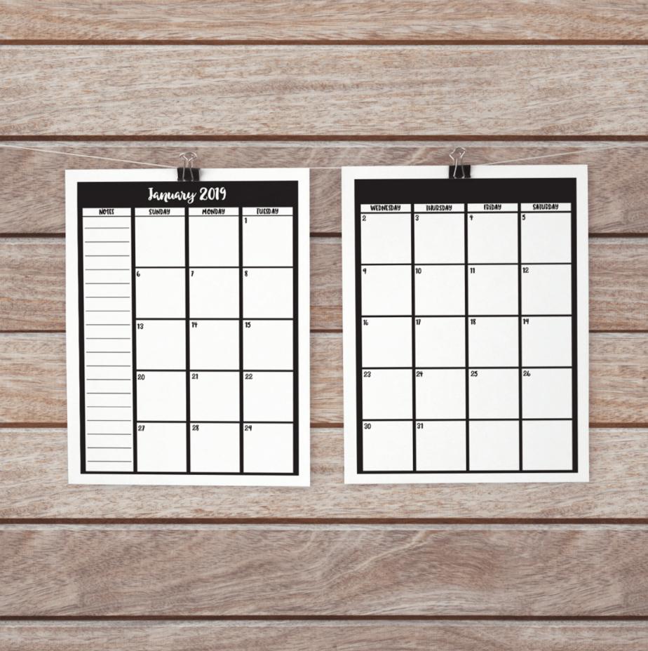 2 page calendar spread