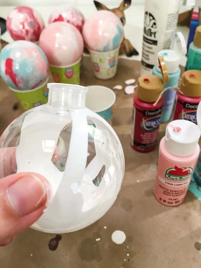 Pour paint inside ornaments