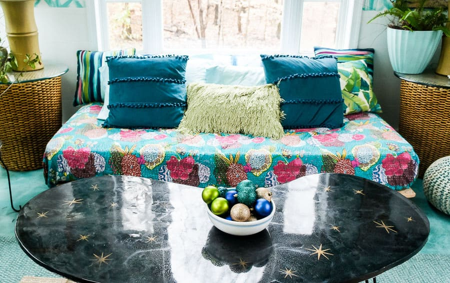 daybed and retro table