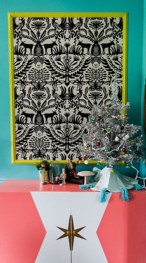 christmas tree on IKEA besta sideboard