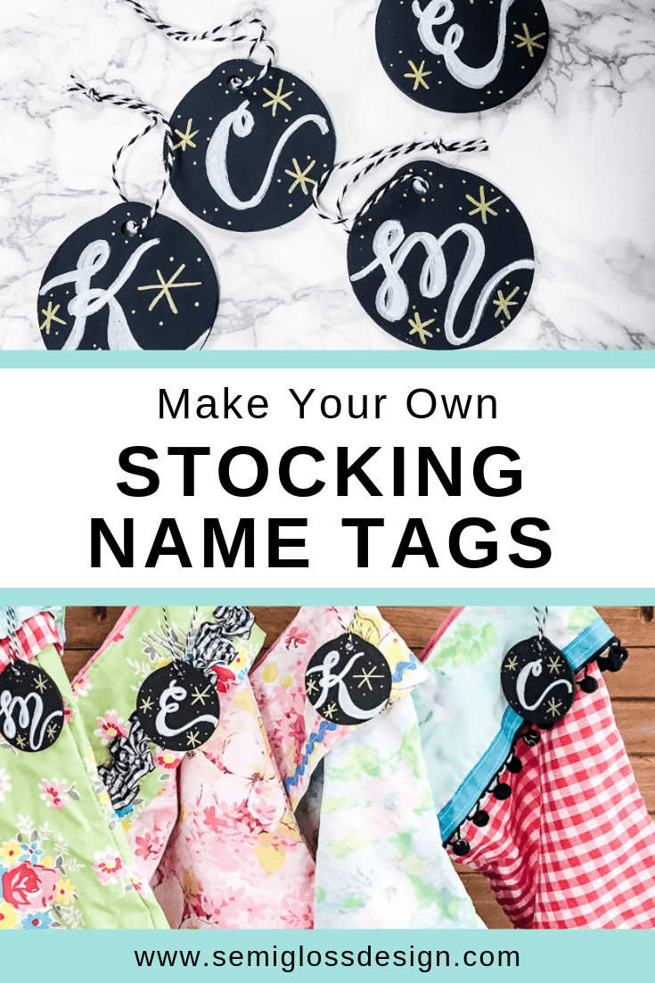 DIY stocking name tags with chalk markers